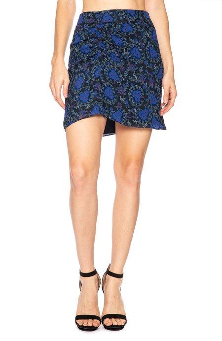 Derek Lam 10 Crosby Ruched Side Skirt - Black Floral