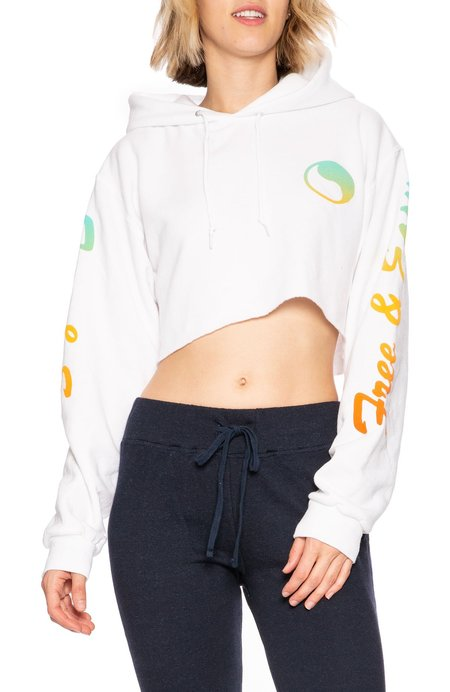 Free & Easy Sunset Cropped Hoodie - White