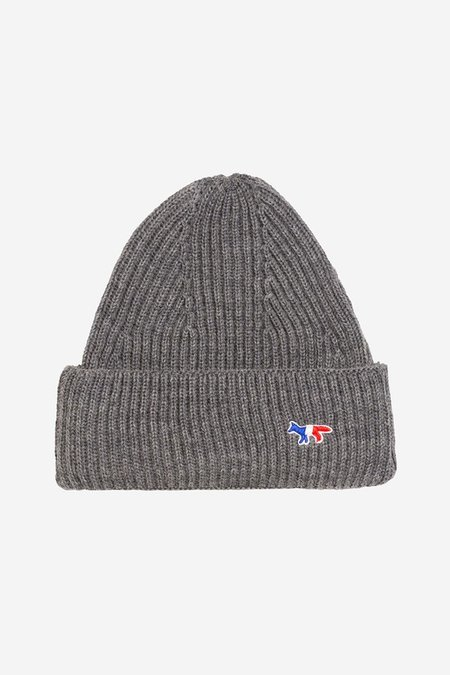 Kitsune Ribbed Knit Beanie - Grey Melange