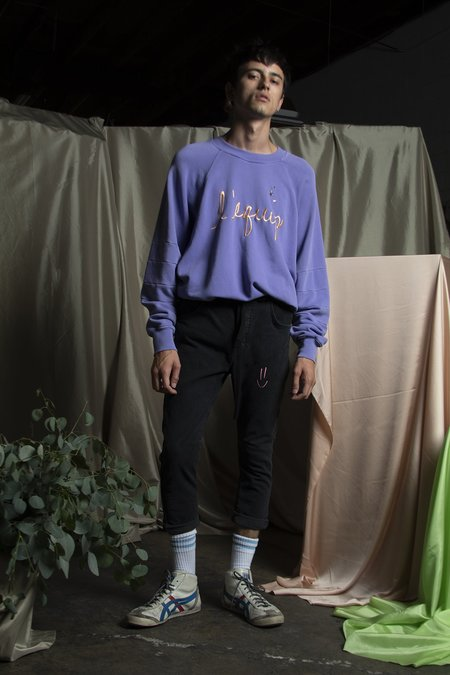 l'equip FRENCH TERRY HENRY SWEATSHIRT - PURPLE