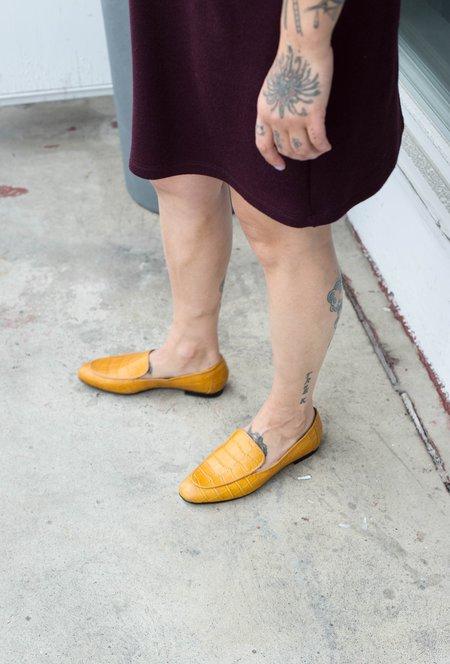 L'Intervalle Norte Croco Loafers - Mustard