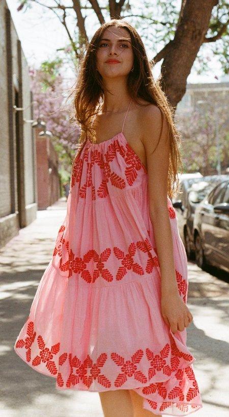 Carolina K 3 Way Embroidered Dress - Pink/Red