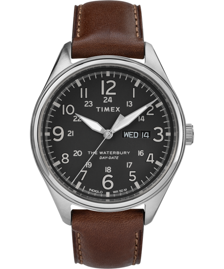 Timex Archive Waterbury Traditional Day Date 42mm Watch - Dark Brown