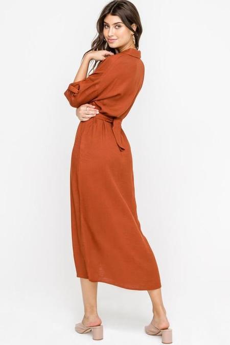 Lush Autumn Midi Dress - Rust