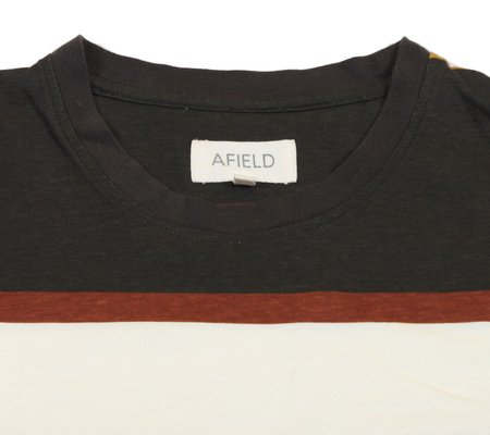 Far Afield Dos Stripe T-Shirt - Grey