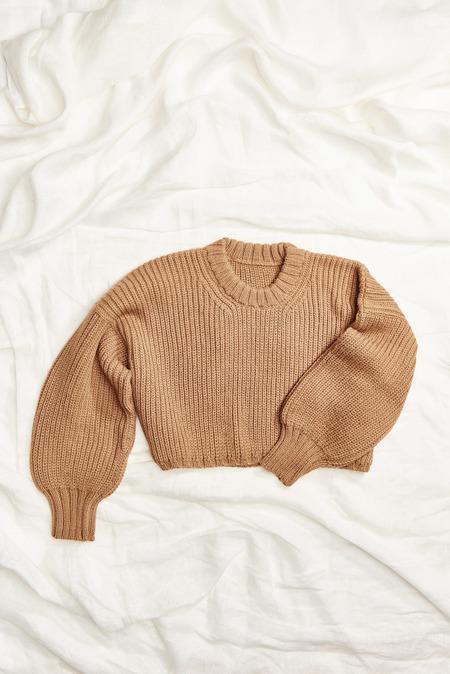 First Rite Crop Crew Sweater in Camel