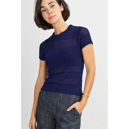 Callahan Open Weave Crewneck Top - Navy
