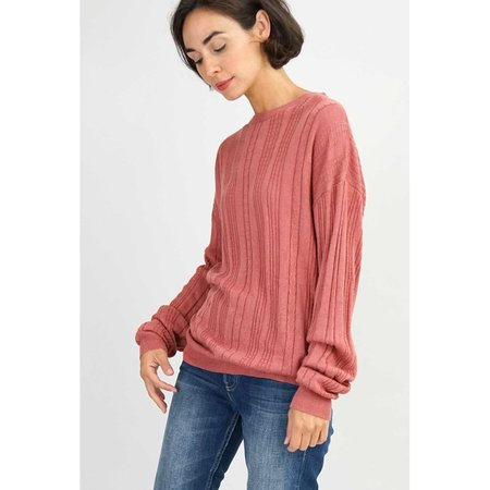 Callahan Cableknit Boyfriend Sweater - Dusty Rose
