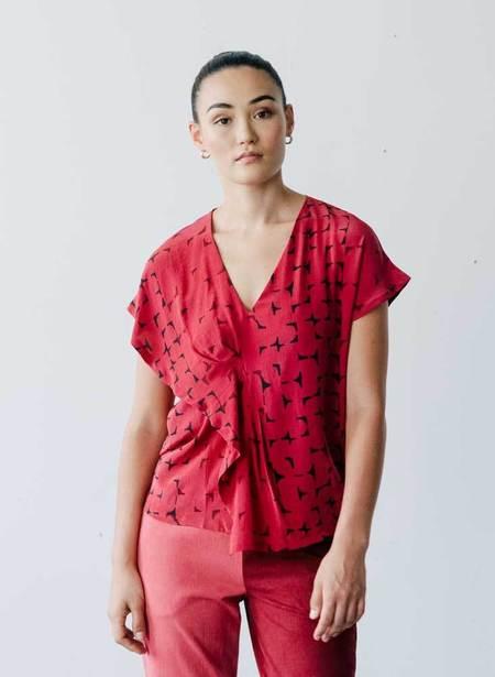 Seek Collective Maria Silk Crepe Top - Vin Mosaic Print