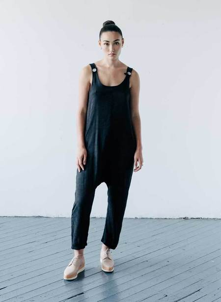 Seek Collective Tilden Jumpsuit - coal black jacquard