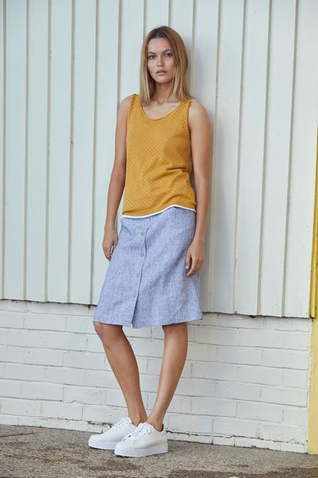 Standard Issue Linen Skirt - White Mix