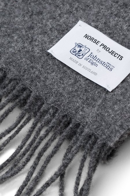 Norse X Johnstons Lambswool Scarf - Magnet Grey