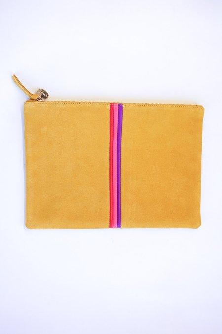 Clare V. Flat Suede Clutch - Marigold/Red/Camellia/Ortensia Stripe