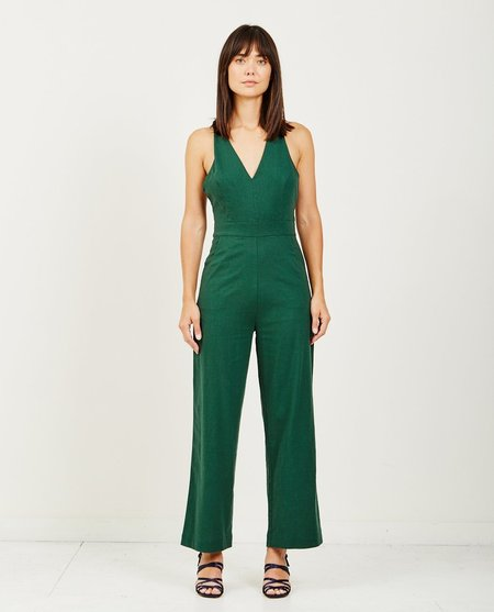 Rollas OLD MATE LINEN JUMPSUIT - 90'S GREEN