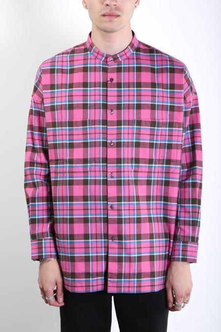 Gustav Von Aschenbach Stand Collar Shirt - Pink Plaid