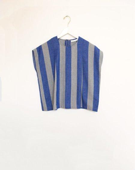 Carleen Pleat Shoulder Shell BLOUSE - Blue/Grey Stripe