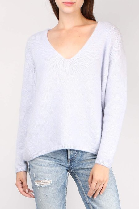 Closed V Neck Knit Pullover - Pearl