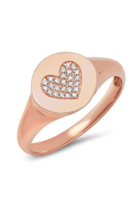 Shain Leyton Gold Diamond Heart Signet Ring