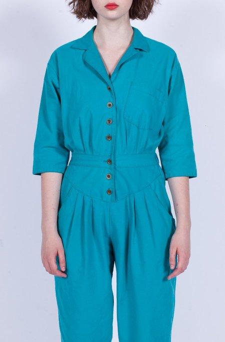 Yo Vintage! Cotton Jumpsuit - Turquoise