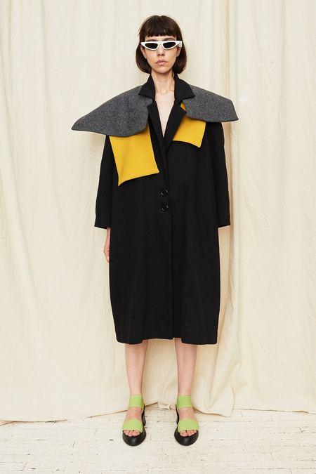 Nancy Stella Soto Caplet Denim Coat - BLACK