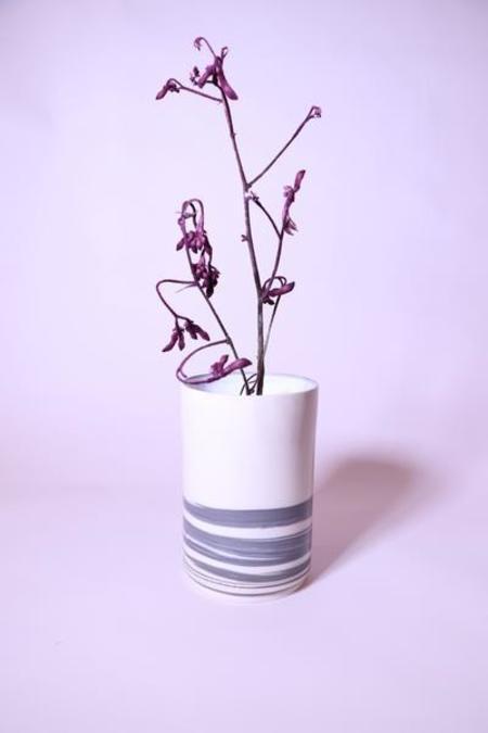 Shakeel Rehemtulla Striped Cylindrical Vase - Cream/Grey