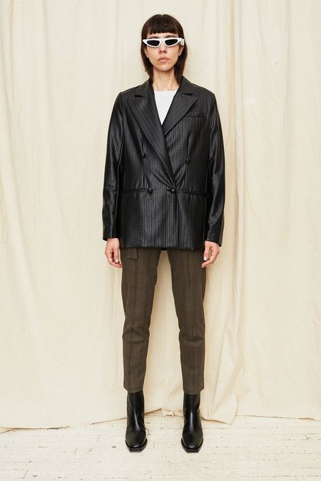 Assembly New York Vegan Leather Woven Blazer - BLACK