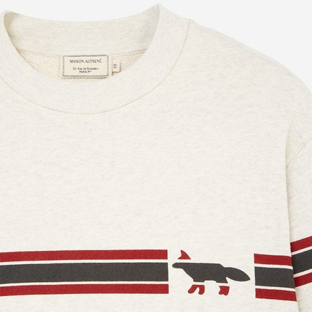 Kitsune Sweatshirt Striped Fox  - Ecru Melange