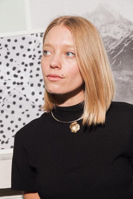 Paige Cheyne Ripple Collar - SILVER/BRASS