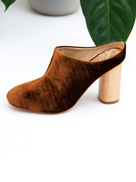 Sydney Brown High Mule - Amber Velvet