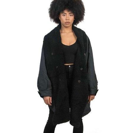 Fried Rice Reversible Kimono Denim Coat - Black