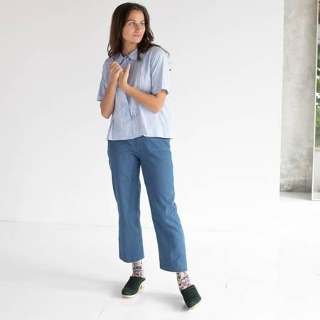 Caron Callahan Westley Shirt - CRINKLE BLUE OXFORD