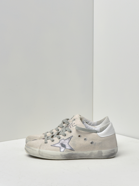 GOLDEN GOOSE DELUXE BRAND SUPERSTAR SNEAKERS - WHITE DRILL/SILVER STAR