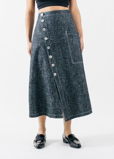 REIFhaus Petra Raw Silk Denim Skirt - Indigo