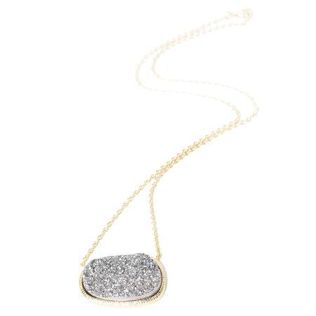 Marcia Moran Queen Druzy Organic Oval Necklace