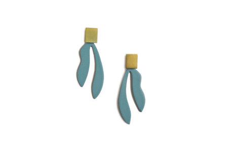 Natalie Joy Palm Earrings - Vintage Teal/Brass