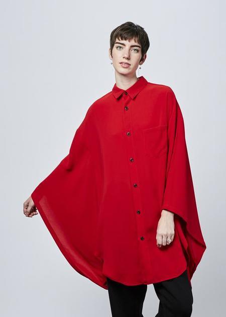 Nocturne #22 Kimono Sleeve Oversize Shirt - red