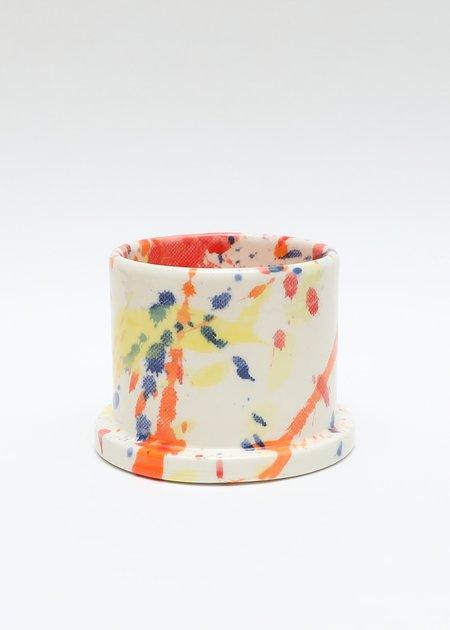 Echo Park Pottery Short Orange Splatter Mug - Circle Handle