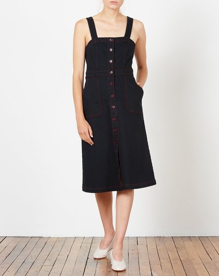 Rachel Antonoff Alma Button Down Dress - Black Denim