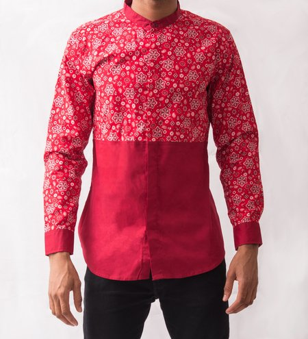 Omenka Patterned Shirt - Red Paisley