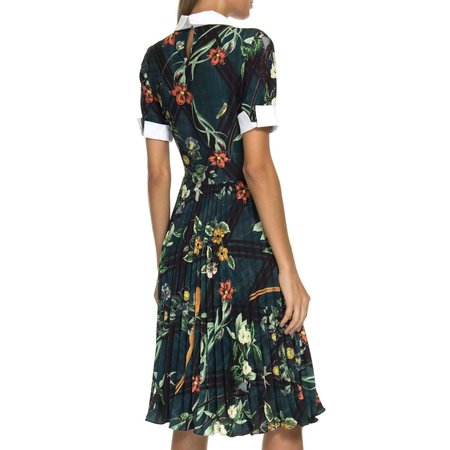 PatBO Pleated Midi Dress - Moana Print