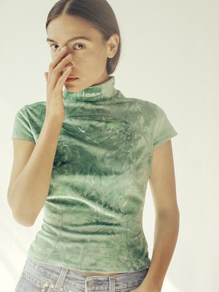 Eckhaus Latta Sport Velvet Tee - Green Tie Dye