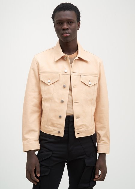 Helmut Lang Natural Lamb Leather Masc Trucker Jacket - Tan