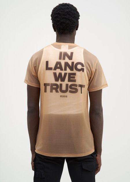 Helmut Lang Sheer Brian Roettinger Logo Hack T-Shirt - Tan