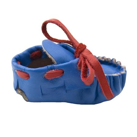 KIDS Manimal Baby Booties - Cobalt Blue With Red Laces