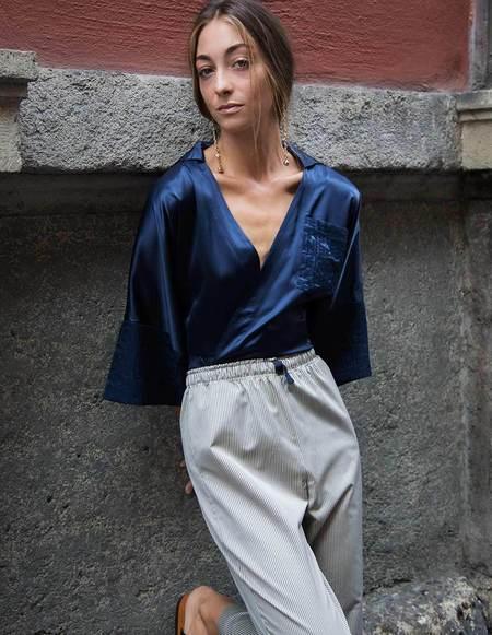 Caftanii Firenze Embroidered Silk Chemise - Celine Blue