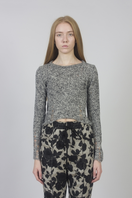 Song for the Mute Alpaca Wool Distressed Knit Top