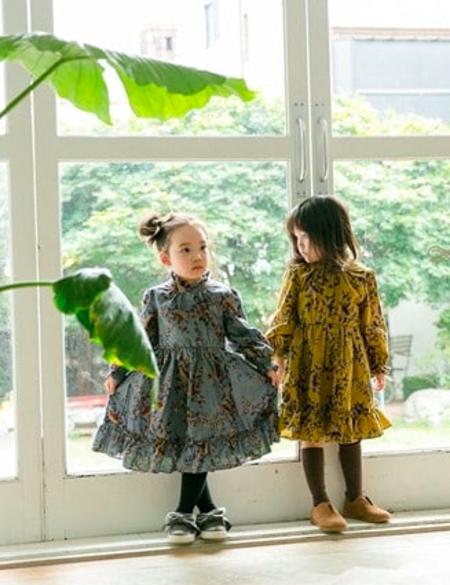 Kids Ribbon Floral Dress - Charcoal