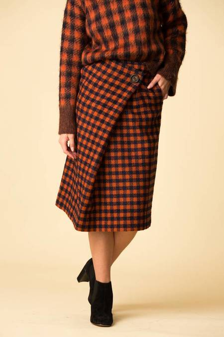 SEA Ethno Pop A-Line Wrap Skirt - Orange Check