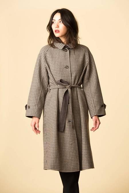 Mijeong Park Single Breasted Wool Plaid Coat - Brown