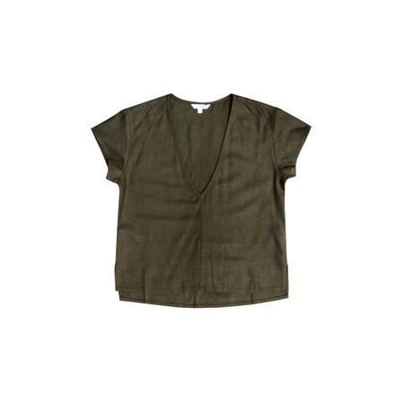 Ali Golden V-NECK TOP - OLIVE